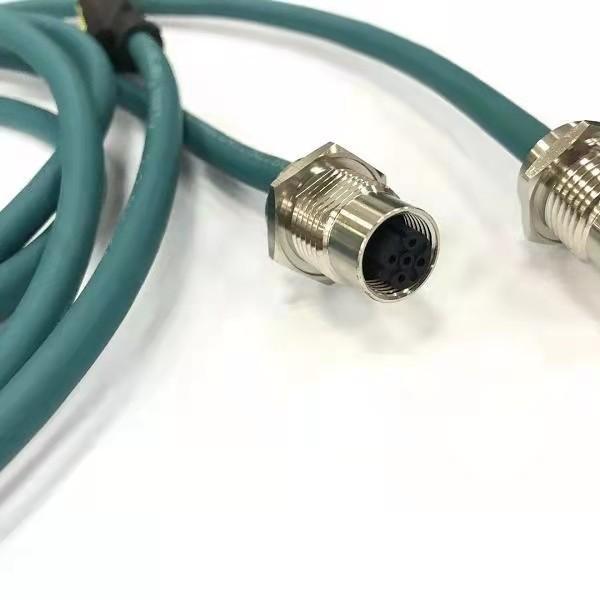 协议连接器M12 4芯D型插头D编码转RJ45连接线