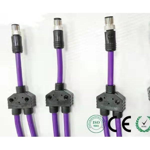 7/8T型插头3通连接器 4 5 6芯7/8一进二出分线器