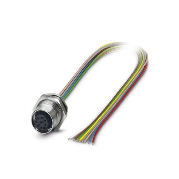 科迎法电气 M12 8孔板前安装穿板固定带线插座