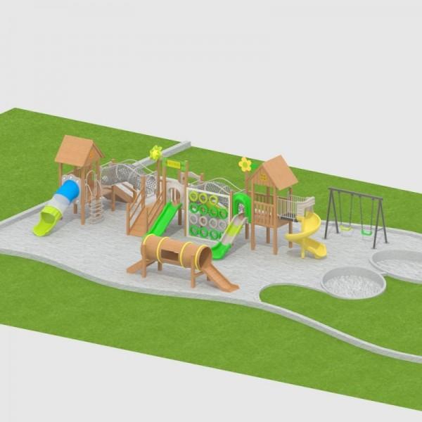 幼儿园户外大型实木制黄花梨拓展设备组合